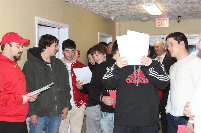 BCHS Football Team, Coaches, Boosters and Principal went Christmas Caroling at the local nursing homes.